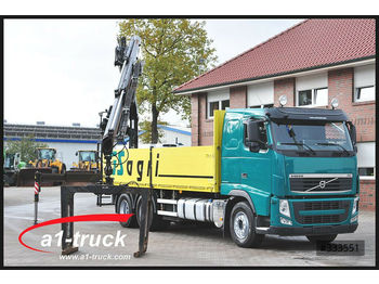 Volvo FH 420, Baustoff,  6x4, Fassi F215 AS 22,  - camion plateau ridelle